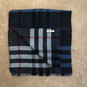 Burberry Blue Multi Wool Reversible Check Scarf